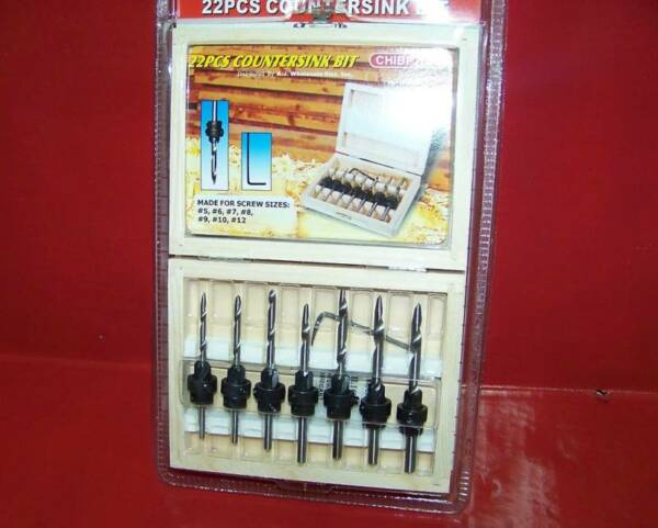 22 PC COUNTERSINK DRILL BIT  WOODWORKING CUTTING ADJUSTABLE TOOLS