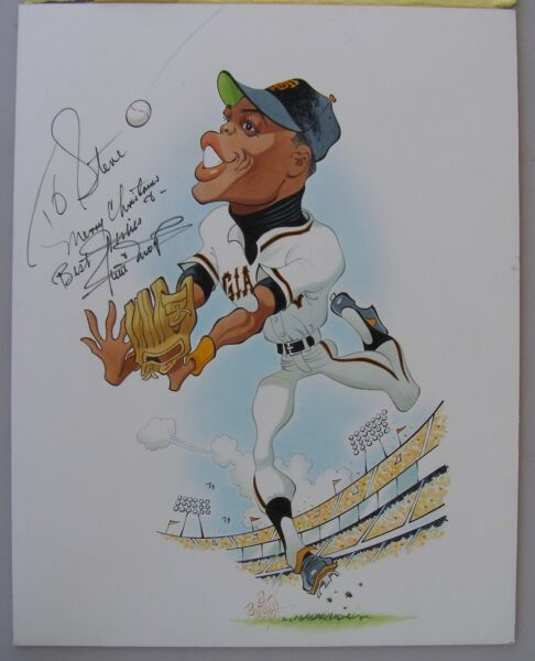 Large Caricature Painting Signed By WILLIE MAYS 1970's