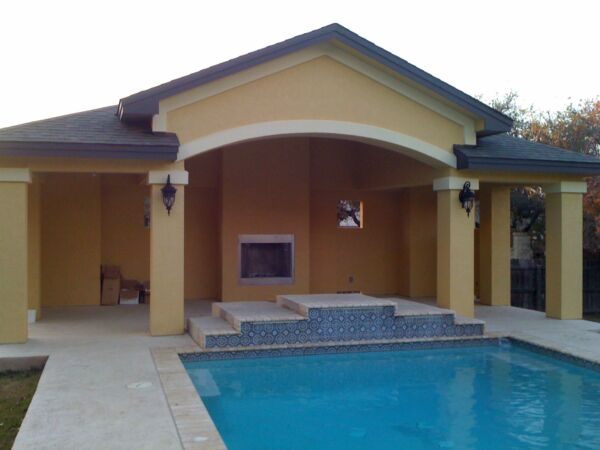 Pool House Cabana Outdoor BBQ Kitchen Living with Fireplace 30#x27; x 15#x27;