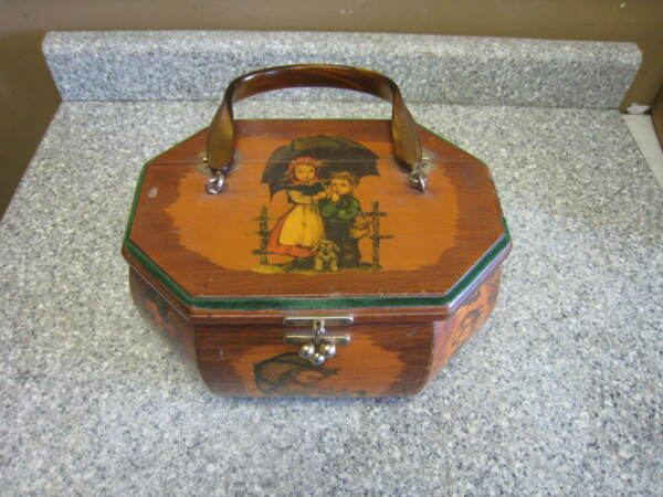 Vintage Wooden Octagon Box  Purse by Evelyn