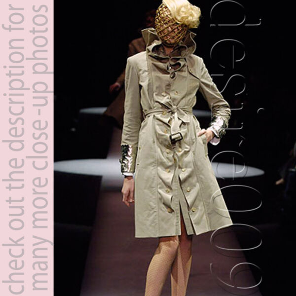 Viktor & Rolf Ruffles Khaki Washed Cotton Trench Coat I38XS-S