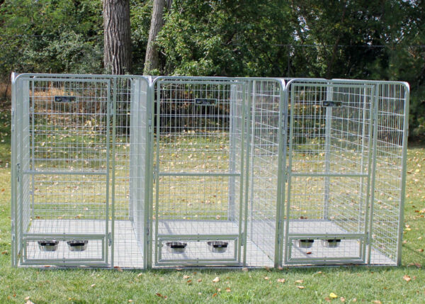 4#x27; X 8#x27; Multiple PRO Galvanized Dog Kennel System for Three Dogs $1539.70