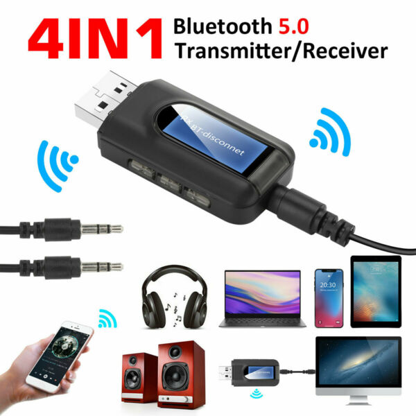 Bluetooth 5.0 Transmitter Receiver 4 IN 1 Wireless Audio 3.5mm USB Aux Adapter $9.59