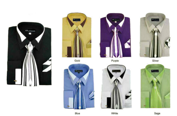 Men#x27;s French Cuff Dress Shirt with Tie And Handkerchief 7 Colors Size 15 20 SG34