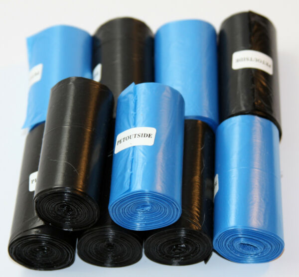 1800 DOG PET WASTE POOP BAGS 90 REFILL ROLLS CORELESS BLUE AND BLACK $32.99