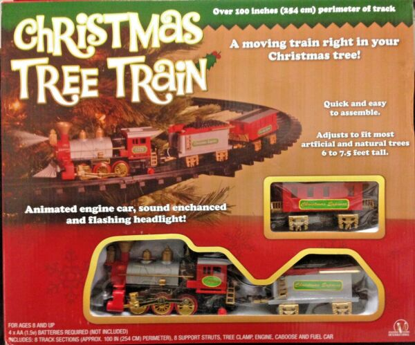 New Light Sounds ANIMATED CHRISTMAS TRAIN SET Holiday Decoration Mounts in Tree!