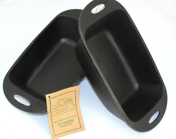 Loaf Pan Pre Seasoned Cast Iron 11 3 4 inches By Old Mountain 2 Pc. set