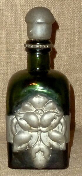 SALE!~ANTIQUE GREEN GLASS C.L.O.C. WHISKEY BOTTLE wREPOUSSE PEWTER WORK~DENMARK