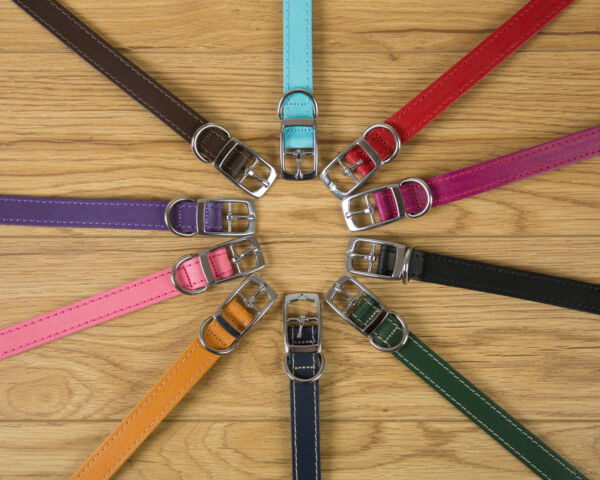 LEATHER DOG COLLARS AND LEADS VARIOUS SIZES AND COLOURS MADE IN THE UK GBP 13.50