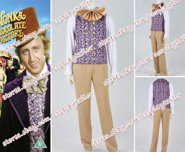Charlie And The Chocolate Factory Cosplay Willy Wonka Costume Vest Shirt Pants