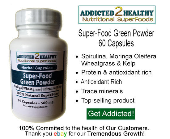 60 SuperFood Green Powder Capsules - Moringa Spirulina Wheatgrass Kelp