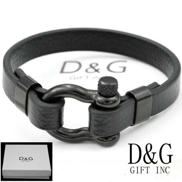 DG Men#x27;s 8.5quot; Black Stainless SteelHorseShoe Leather.Bracelet*Unisex..BOX
