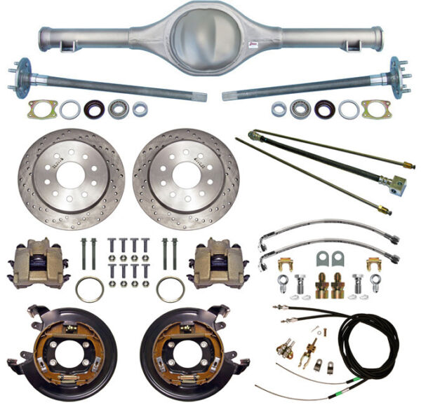 CURRIE 64-66 MUSTANG REAR END & DRILLED DISC BRAKESLINESE-BRAKE CABLESAXLES+