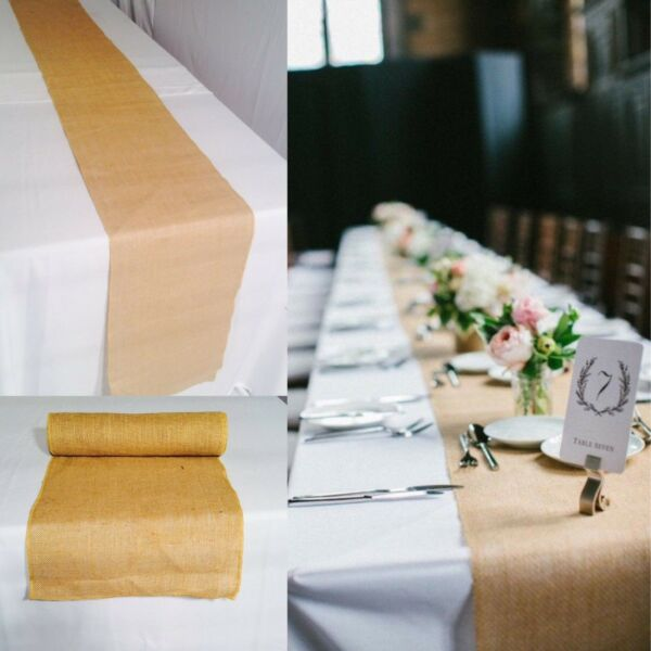 BURLAP TABLE RUNNER 14quot; x 108quot; 100% JUTE BURLAP TABLE DECOR WEDDING SHOWS