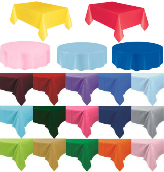 Plastic Table Cover Cloth Wipe Clean Party Tablecloth Round Covers Cloths GBP 2.99