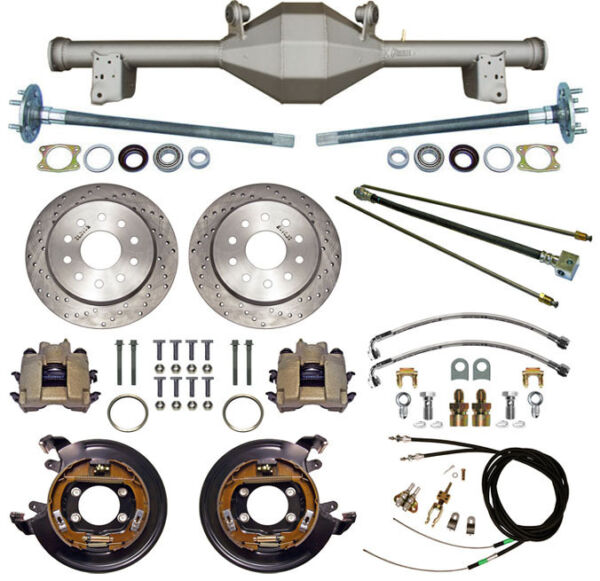 CURRIE 79-93 MUSTANG 5-LUG REAR END & DRILLED DISC BRAKESLINESPARKING B CABLES