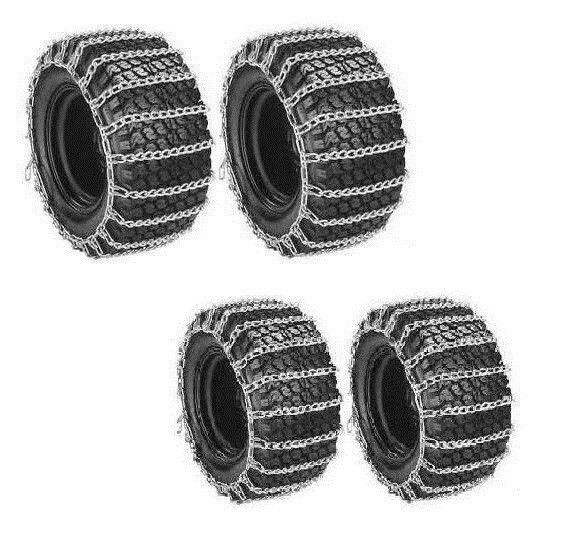 Front & Rear 2 Link TIRE CHAINS for John Deere 210 212 214 216 300 Snow Blowers