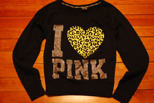 Victoria's Secret VS PINK Glitter Heart Rhinestone Sweatshirt (Small)