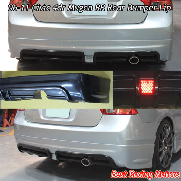 Mu-gen RR Style Rear Bumper Lip (ABS) Fits 06-11 Honda Civic 4dr