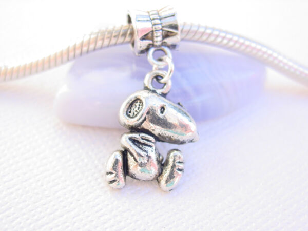 Cute Silver #x27;peanuts snoopy#x27; Dog Slider Clip Dangle Charm fits European Bracelet $5.66