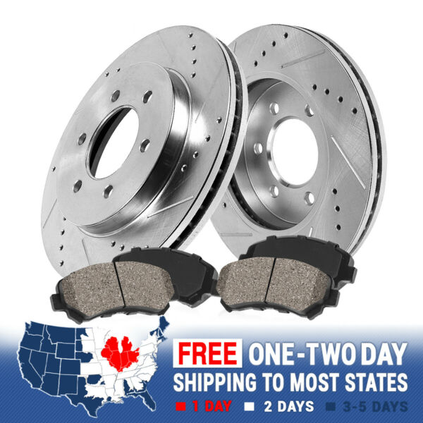 Front Drill And Slot Brake Rotors & Ceramic Pads For 2WD 4WD 4X4 Chevy GMC