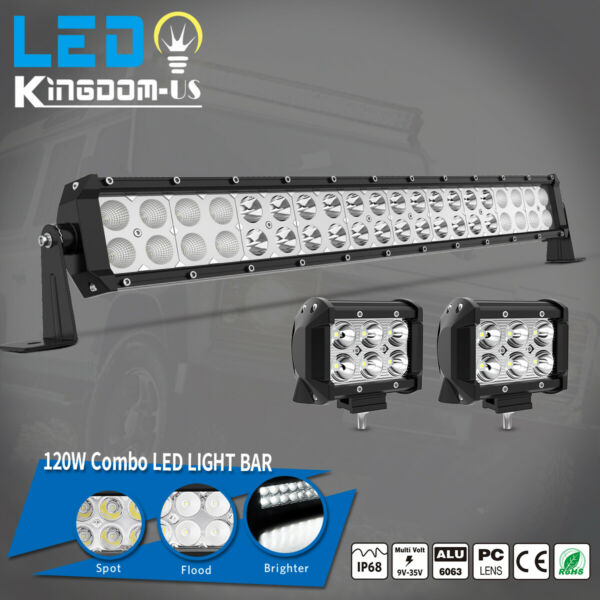 22 24inch LED Light Bar Spot Flood Combo 2x 4quot; Pods For Offroad Jeep Truck 4WD