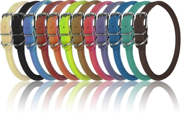 Genuine Leather Collar Rolled Round Soft Padded Dogline 12 Colors Made in Europe $5.95
