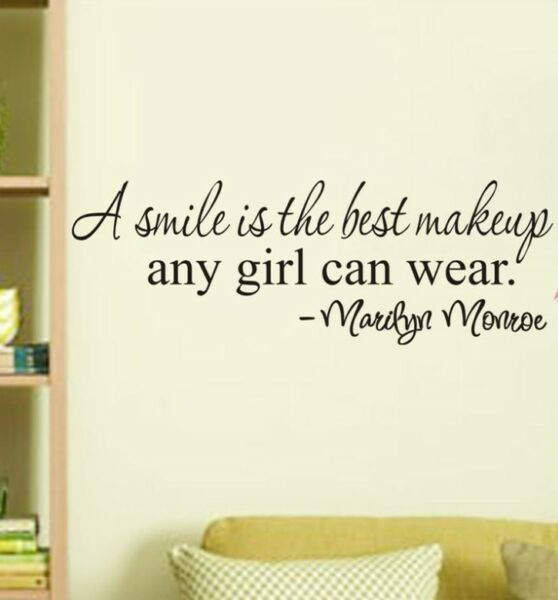 SMILE MAKEUP Marilyn Monroe Quote Vinyl Removable Wall Stickers Home Decor Decal