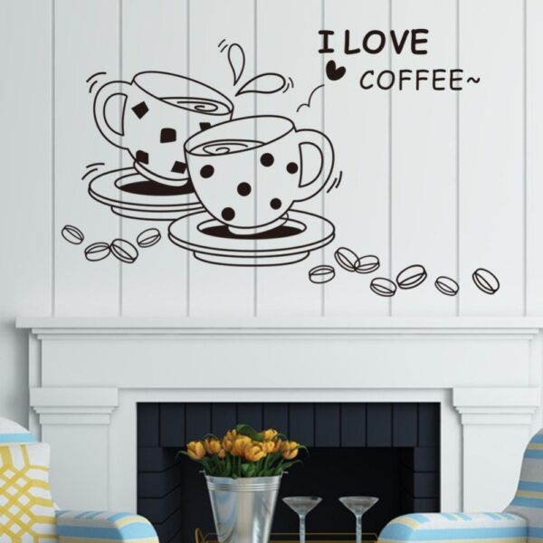 I LOVE COFFEE Kitchen Office Vinyl Wall Sticker Home Decal Lettering Words Quote