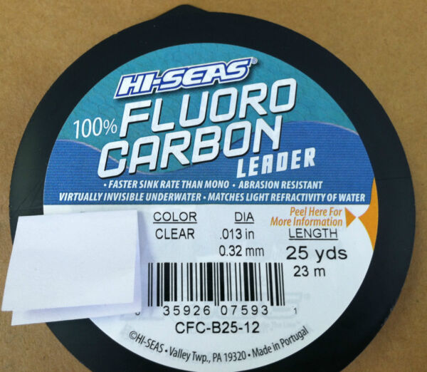 HI-SEAS 100% FLUOROCARBON LEADER LINE 6LB - 80 LB - CLEAR 25 YARDS - NEW