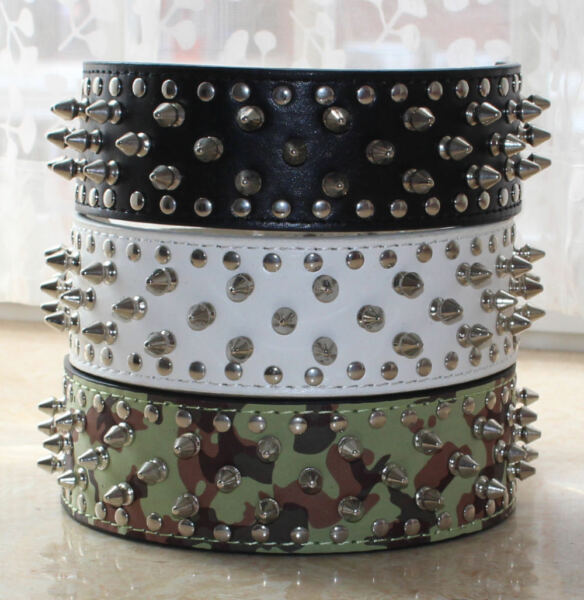 NEW Unisex Leather Spiked Studded Dog Collar Spikes Studs Pitbull Terrier M L XL $16.14