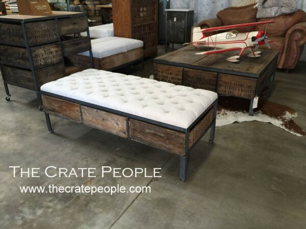 3 Crate Drawer Tufted Ottoman or Bench or Coffee Table - Vintage Wood Crates