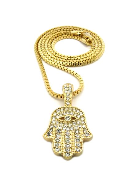 New Iced Out Hamsa Hand Pendant &24
