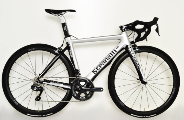 48 49 XS STRADALLI CARBON BICYCLE SILVER AERO ROAD BIKE CYCLING SHIMANO Di2