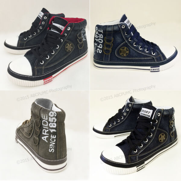 Mens Jeans Sneakers Canvas Denim Casual  High-Top Shoes Stone-Washed Boots Sizes