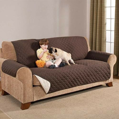 Reversible Furniture Protector Quilted Brown Slipcover Sofa Love Seat Cover NEW $16.79
