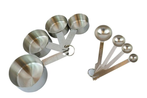 8 Pieces Stainless Steel Measuring Cups and Measuring Spoon Set New Eastwood