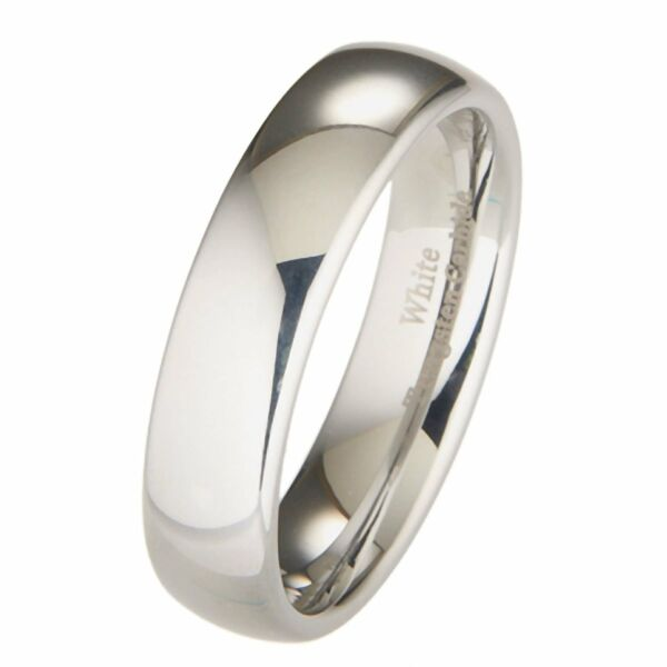 6MM Tungsten Wedding Band Ring Dome Comfort Fit Sizes 8 - 15 Half Round Classic