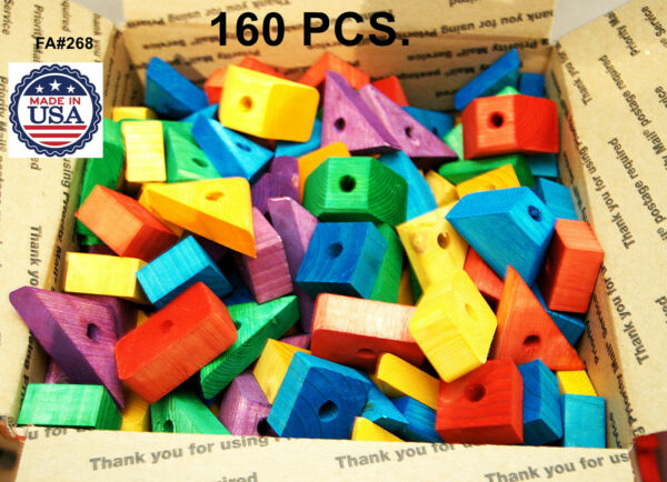 Bird Toy Wooden blocks Colored wood for parrot parts macaw African grey amazon