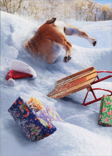 Dog Stuck In Snow Bank Stand Out Pop Up Funny Bulldog Christmas Card $4.49