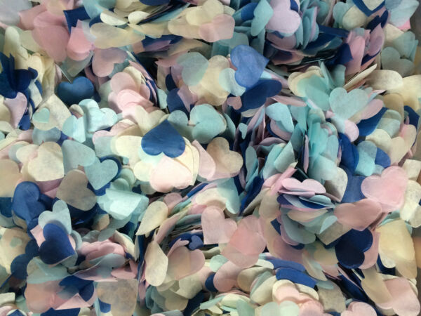 Large Biodegradable Confetti Box - 25 Small Handfuls Cones Blue Pink Ivory Eco