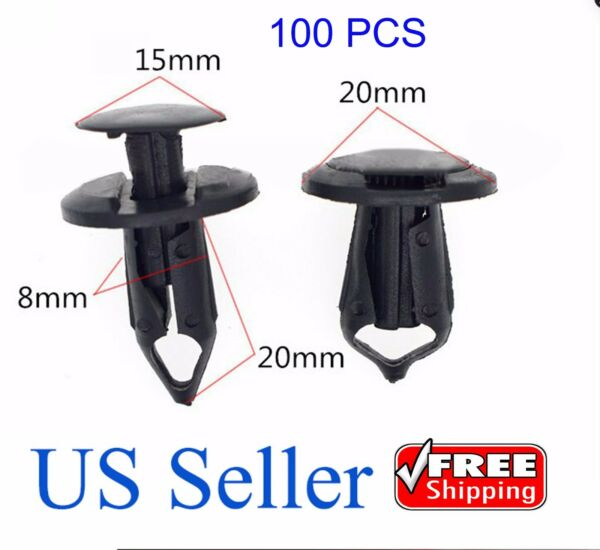 100x  8mm Hole Plastic Rivets Fastener Push Clips Black for Car Auto Fender