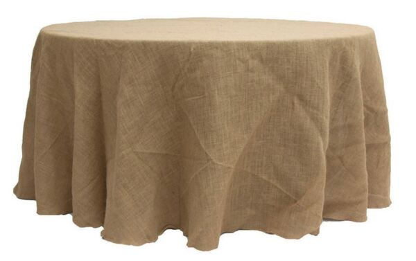 132quot; ROUND Natural BURLAP TABLECLOTH Table Cover Wedding Party Catering