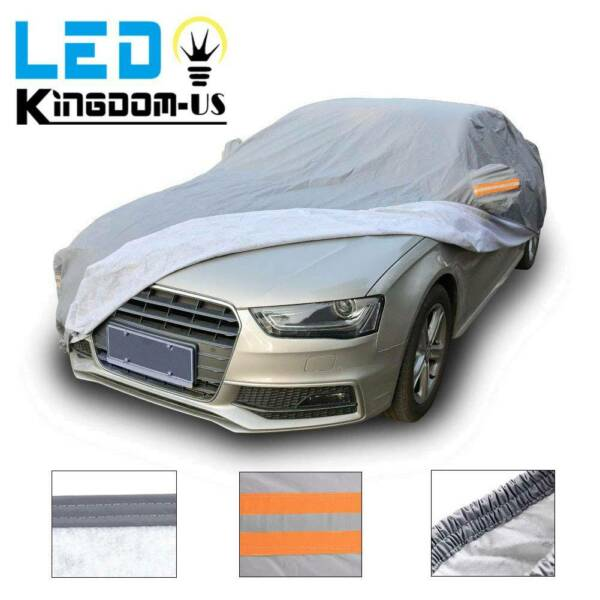 PEVA Waterproof Rain Snow Car Cover Universal Fit All Weather Sun Resistant Gray