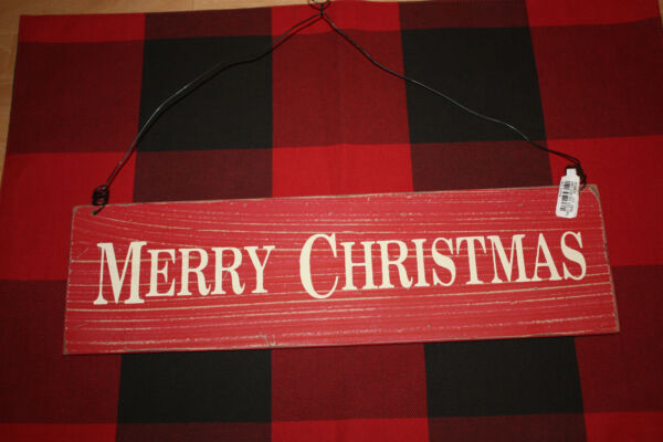 Pottery Barn Merry Christmas Sign Ornament NEW with tag