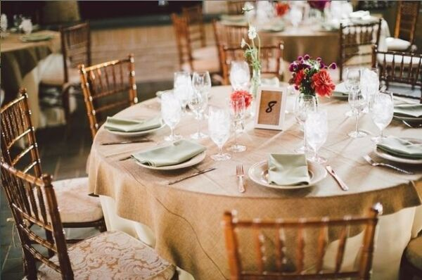 Burlap Overlay 72quot; × 72quot; 100% Natural Jute Tablecloths Table Covers Wedding Big