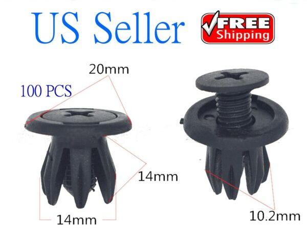 100x Auto Car Door Fender 10.2mm Hole Push Plastic Rivets Retainer Clips Black