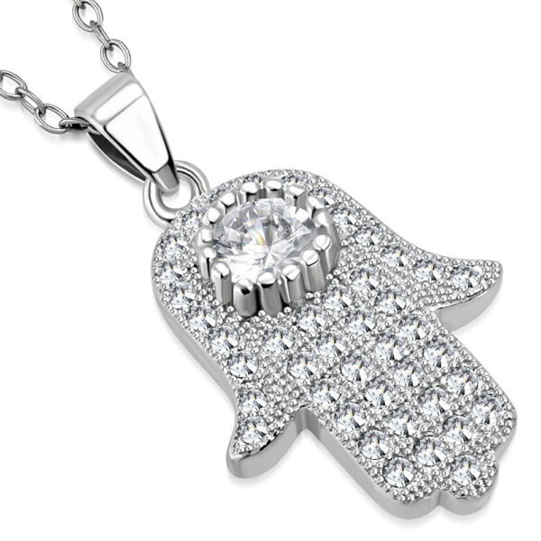 925 Sterling Silver White Clear CZ Hamsa Hand Good Luck Pendant Necklace