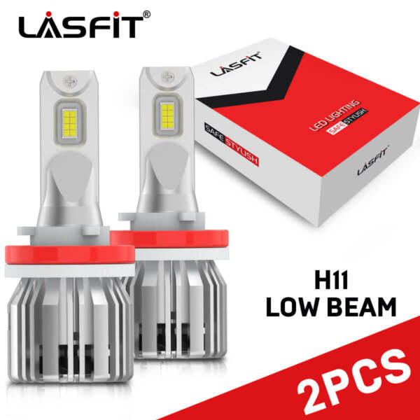 2x LASFIT H11 H9 H8 LED Headlight Bulb Kit Low Beam Fog Light 60W 6000K 7600LM