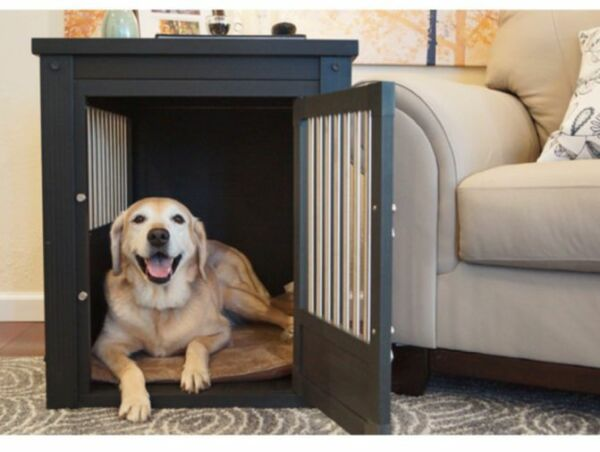Large Dog Kennel Cage End Table Espresso Crate Pet Oversized Puppy Bed Furniture